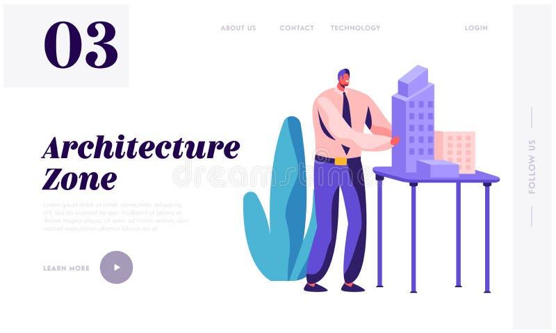 Ingegnere Create Building Project dell'architetto in pagina di atterraggio dell'ufficio Costruttore Group Working sulla costruzio illustrazione di stock