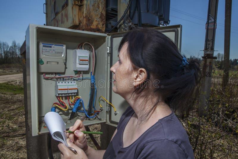 Ingegnere dell'elettricista che ispeziona contro attrezzatura elettrica in Di fotografie stock libere da diritti