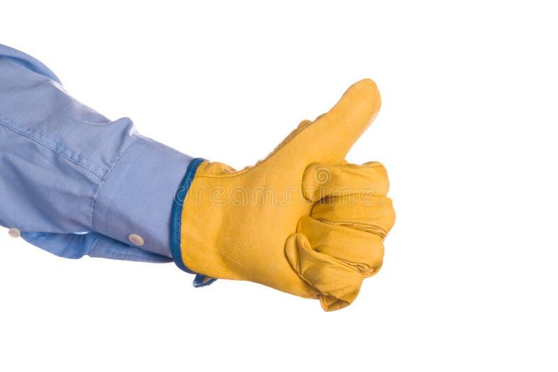 Ingegnere di costruzione Gesturing Thumbs Up per approvazione fotografia stock