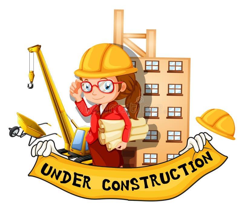 Ingegnere e segno femminili in costruzione illustrazione di stock
