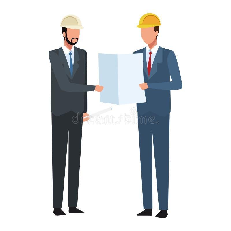 Ingegnere ed architetto di costruzione che guardano i piani variopinti royalty illustrazione gratis