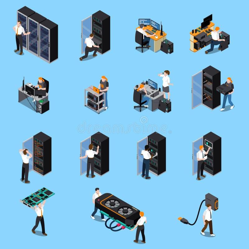 Ingegnere Isometric Set dell'IT royalty illustrazione gratis
