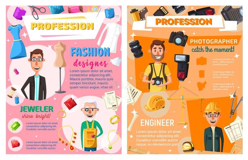 Ingegnere, sarto, gioielliere, professione del fotografo illustrazione vettoriale