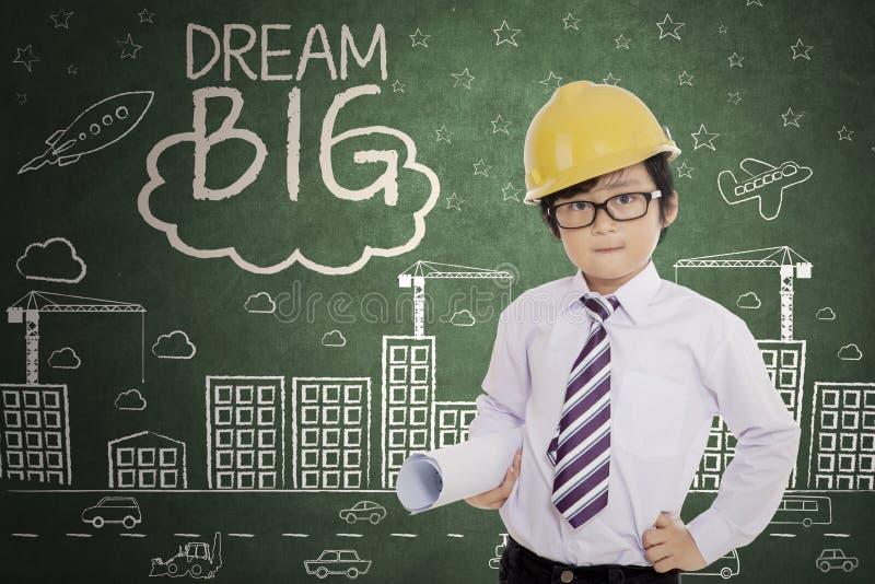Ingegnere sveglio con testo di grande di sogno immagini stock libere da diritti