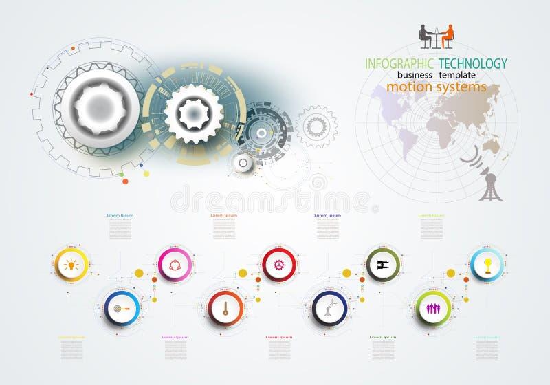 Ingegneria della ruota di ingranaggio di tecnologia del modello di Infographics sul circu royalty illustrazione gratis