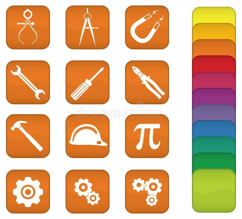 Ingegneria ed icone degli strumenti illustrazione di stock