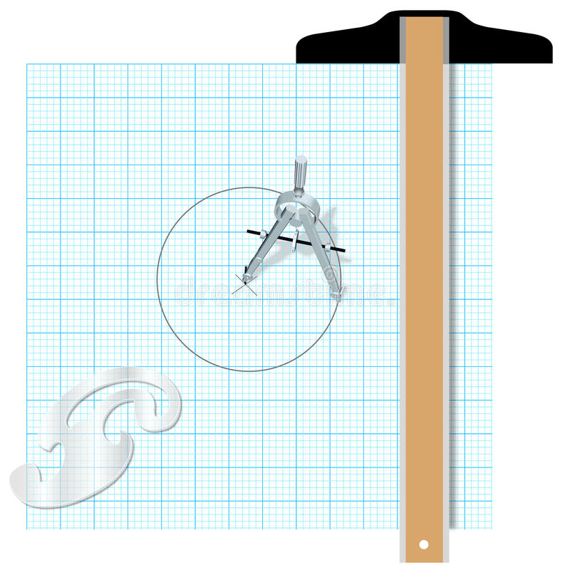 Ingegneria quadrata di progettazione della bussola degli strumenti illustrazione di stock