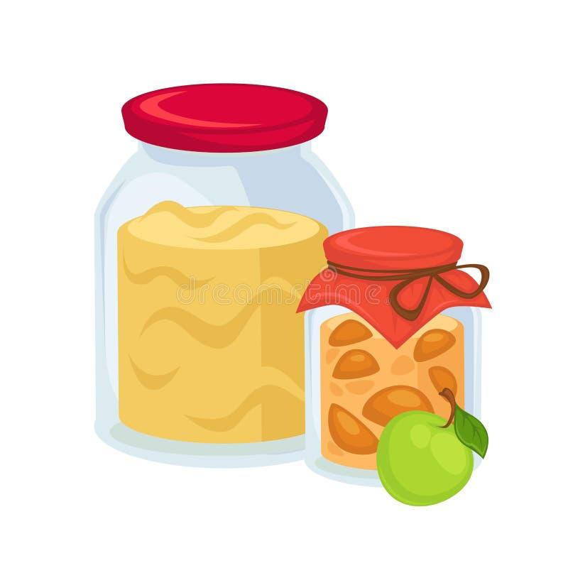 Ingelegde appelen en grote kruik zoete jam stock illustratie
