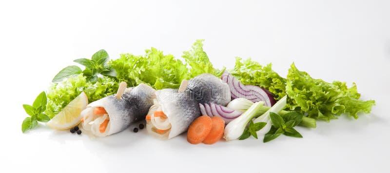 Ingelegde haringen en groenten royalty-vrije stock foto's