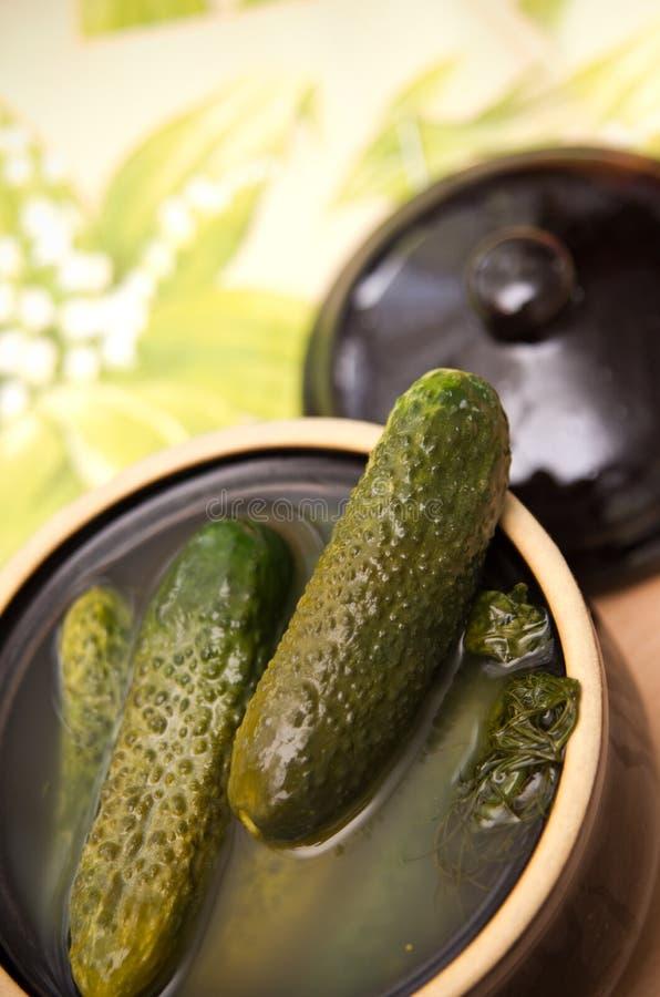 Ingelegde komkommers stock fotografie