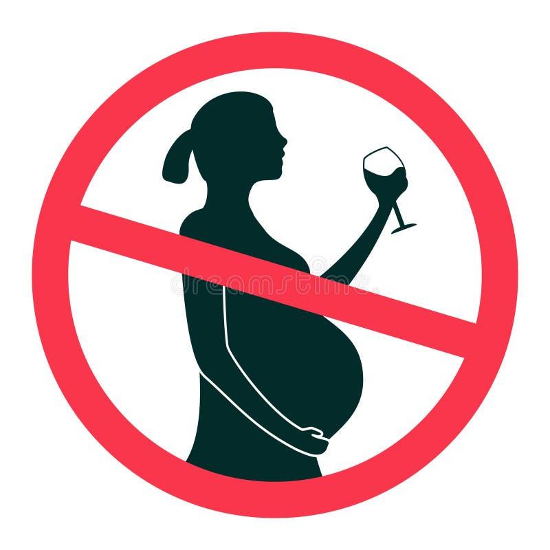 Ingen alkohol under illustrationen för tecken för havandeskapperiodvektor som isoleras på vit bakgrund vektor illustrationer
