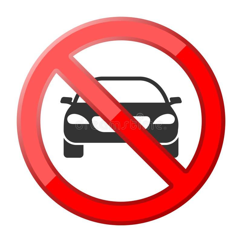 Ingen bil eller inget parkeringstrafiktecken stock illustrationer