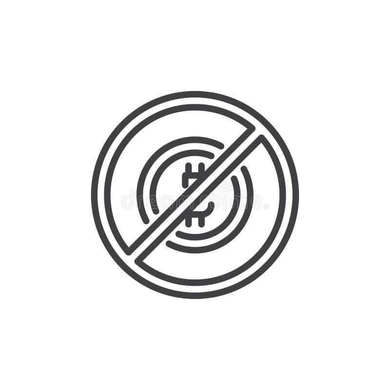 Ingen bitcoin- och blockchainöversiktssymbol stock illustrationer
