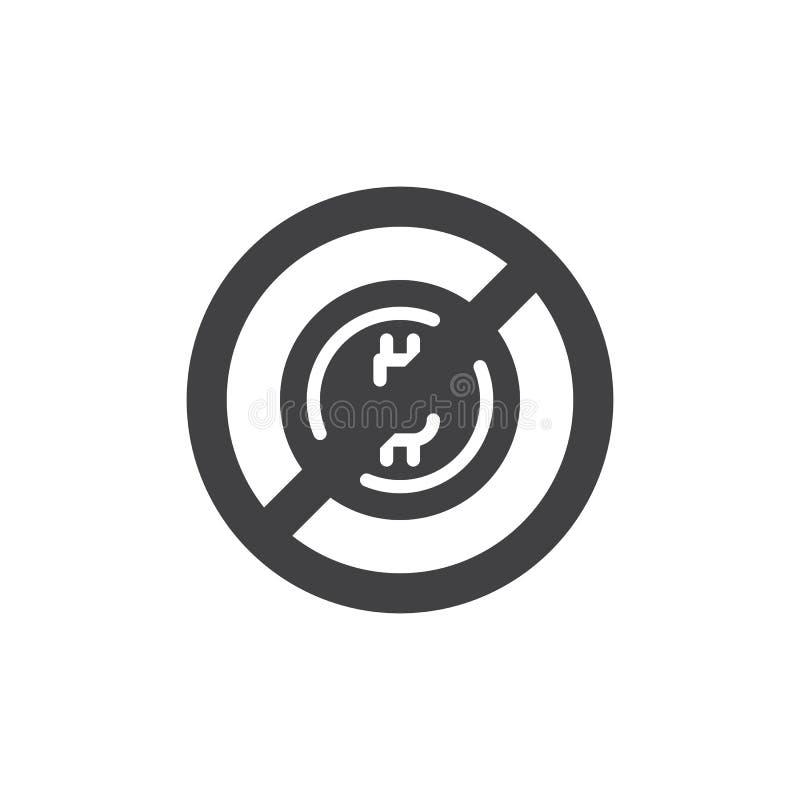 Ingen bitcoin- och blockchainvektorsymbol stock illustrationer