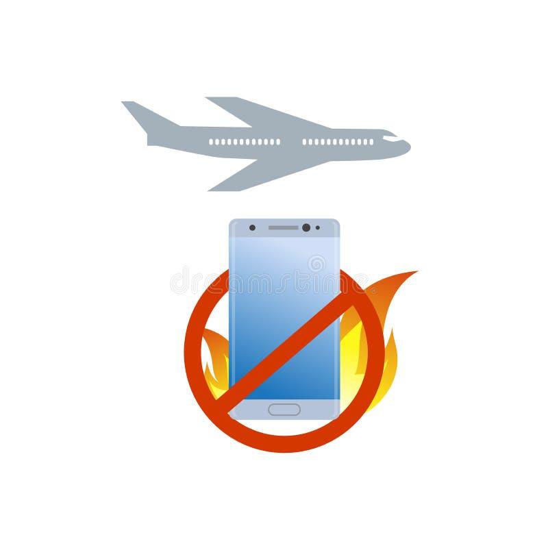 Ingen brinnande symbol för smartphone ombord Dålig quialitymobiltelefon Flygplanförbudtecken royaltyfri illustrationer