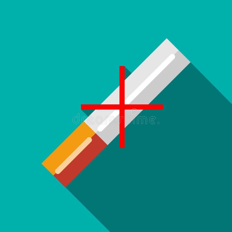 Ingen cigarettsymbol i plan stil royaltyfri illustrationer