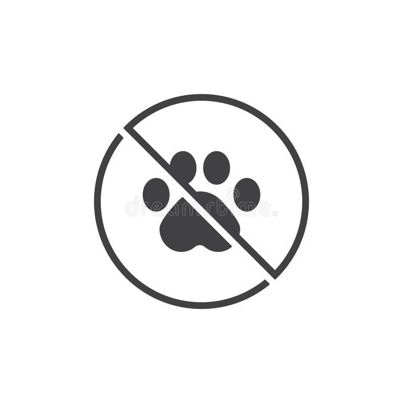 Ingen djur symbolsvektor vektor illustrationer