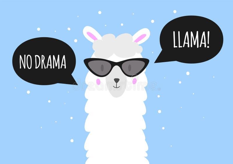 Ingen drama - lama Gullig lama med solglasögon Anförande bubblar med text vektor stock illustrationer