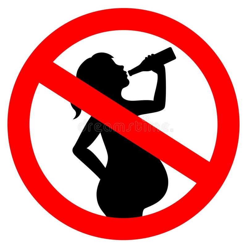 Ingen dricka alkohol medan gravid vektortecken stock illustrationer