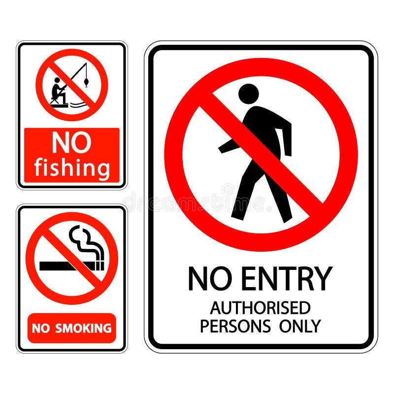 ingen etikett för tecken för symboluppsättning - röka, bemyndigade inget fiske, inget tillträde personer endast vektor illustrationer