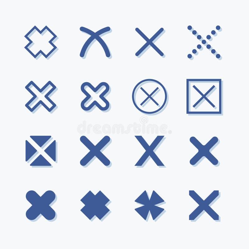Ingen för vektordiagram för symbol plan uppsättning Utskottsvara- och borttagningspictogram royaltyfri illustrationer