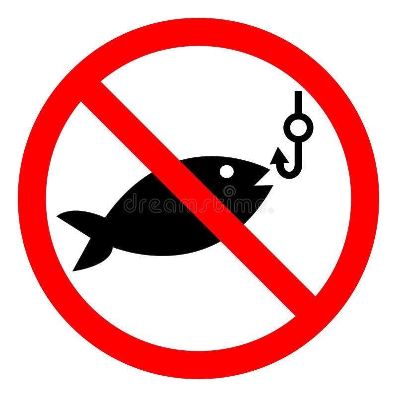 Ingen fiska symbolteckenisolat på vit bakgrund, vektorillustration EPS 10 stock illustrationer