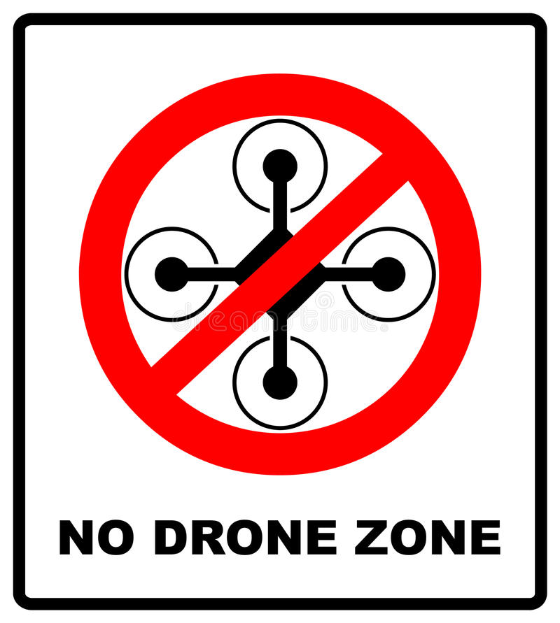 Ingen fluga surrar tecknet Ingen flugazon, surrtecken som isoleras på vit bakgrund, vektorillustration förbudsymbol i rött vektor illustrationer