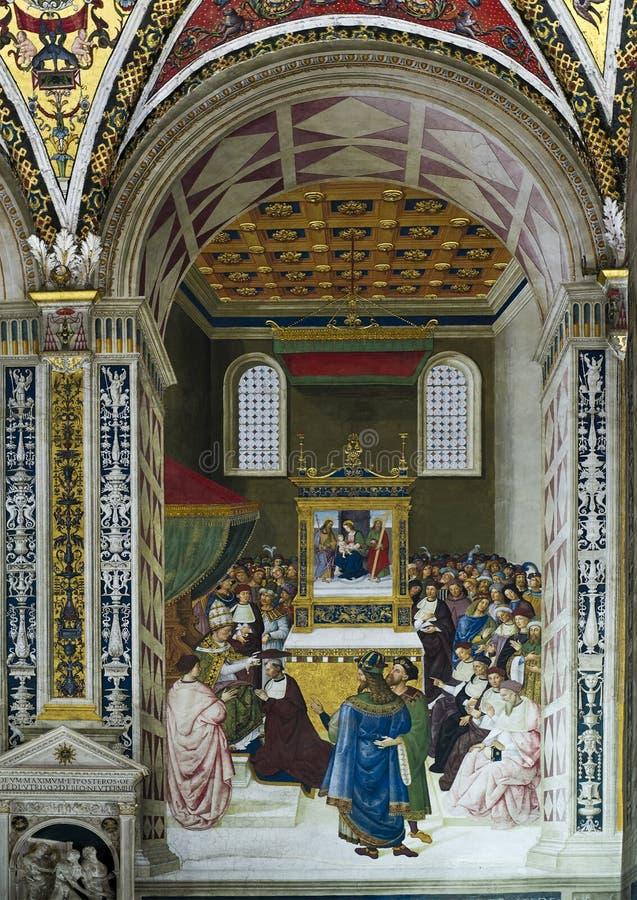 Ingen freskomålning 6 Piccolomini arkiv: Enea Silvio höjas till kardinalen fotografering för bildbyråer