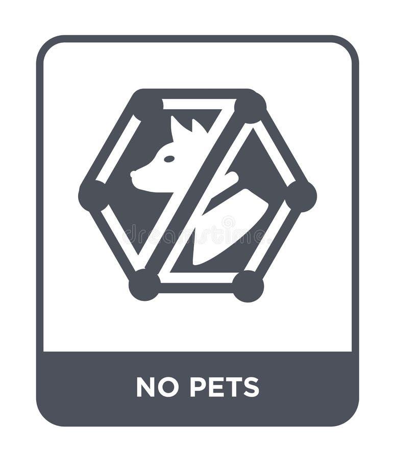 ingen husdjursymbol i moderiktig designstil Ingen husdjursymbol som isoleras på vit bakgrund enkelt och modernt plant symbol för  royaltyfri illustrationer