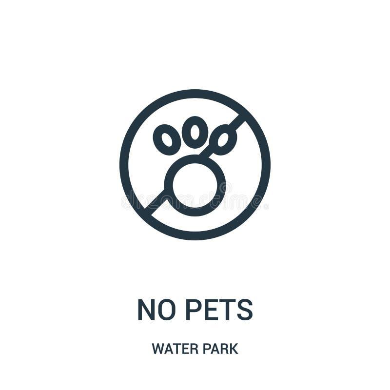 ingen husdjursymbolsvektor från vatten parkerar samlingen Tunn linje ingen illustration för vektor för husdjuröversiktssymbol Lin royaltyfri illustrationer