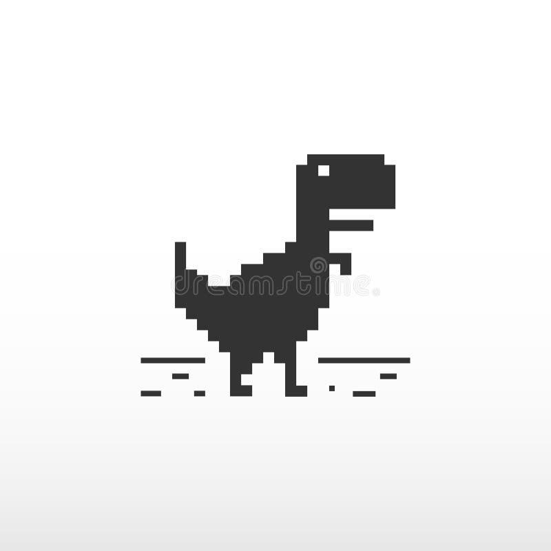 Ingen internetuppkoppling Offline-fel Webbsida som inte laddar Svart dinosaurie vektor illustrationer