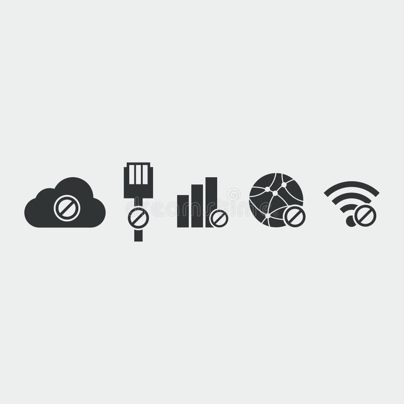 Ingen internetuppkopplingsymbol royaltyfri illustrationer