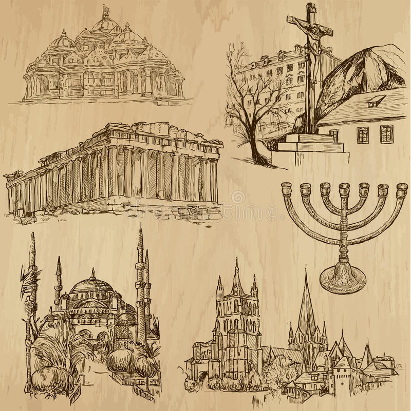 Ingen klosterbroder 9 - Vektorpacke, handteckningar vektor illustrationer