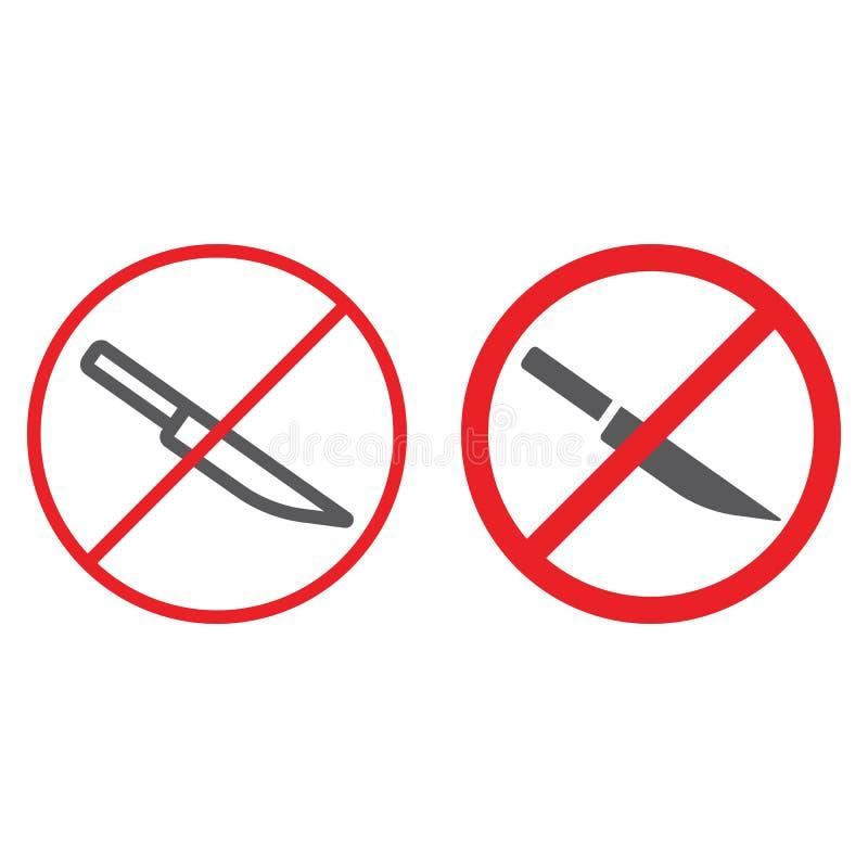 Ingen knivlinje och skårasymbol som förbjudas och förbjudas, inget skarpt tecken, vektordiagram, en linjär modell på ett vitt royaltyfri illustrationer