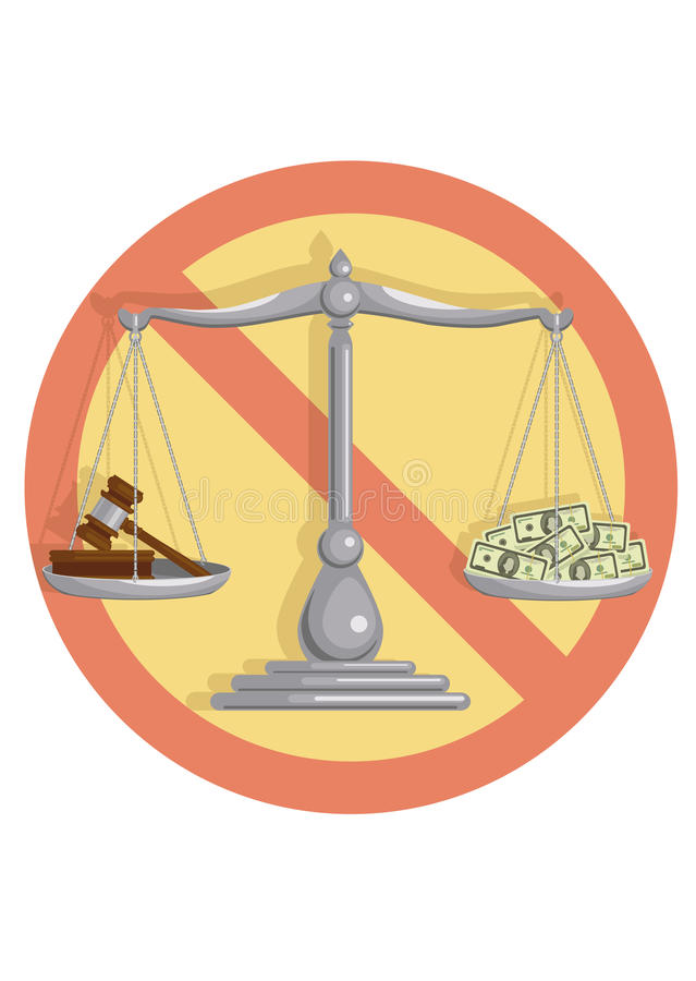 Ingen korrumperad domstol stock illustrationer