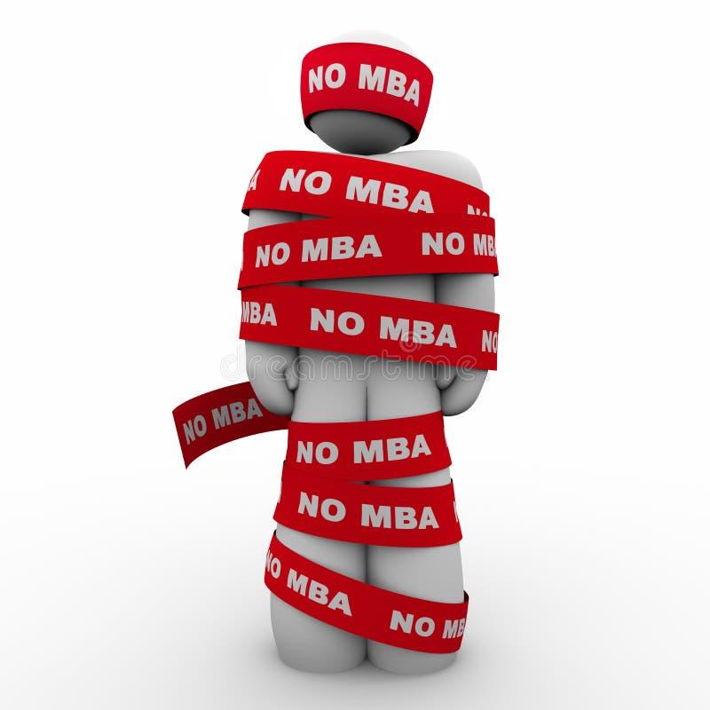 Ingen MBA man som slås in i bandbrist av förlage som tillbaka rymmer dig 3d I royaltyfri illustrationer