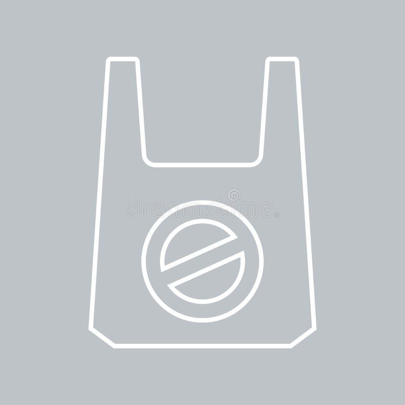 Ingen plastpåsesymbol på grå bakgrund för något tillfälle royaltyfri illustrationer