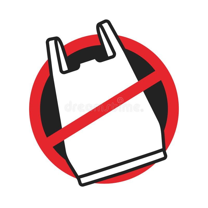 Ingen plastpåsesymbolslogo stock illustrationer
