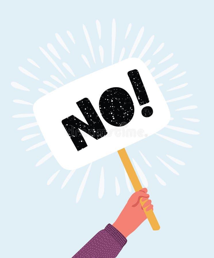 Ingen prima vektorillustration för svar, handinnehavplakatet med inget tecken, person säger att inte röstar royaltyfri illustrationer