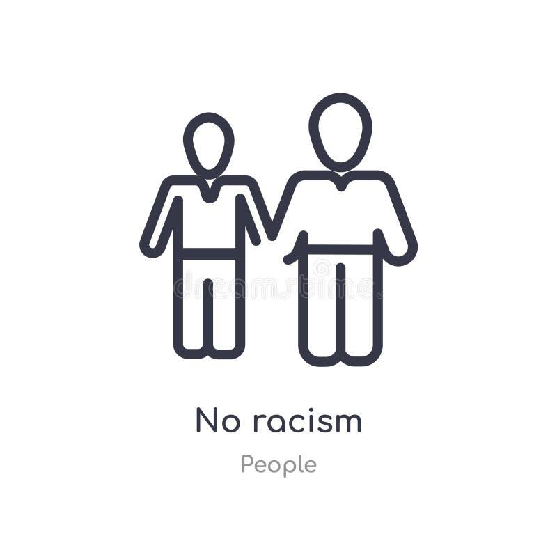 ingen rasismöversiktssymbol isolerad linje vektorillustration fr?n folksamling redigerbar tunn slaglängd ingen rasismsymbol på vi stock illustrationer