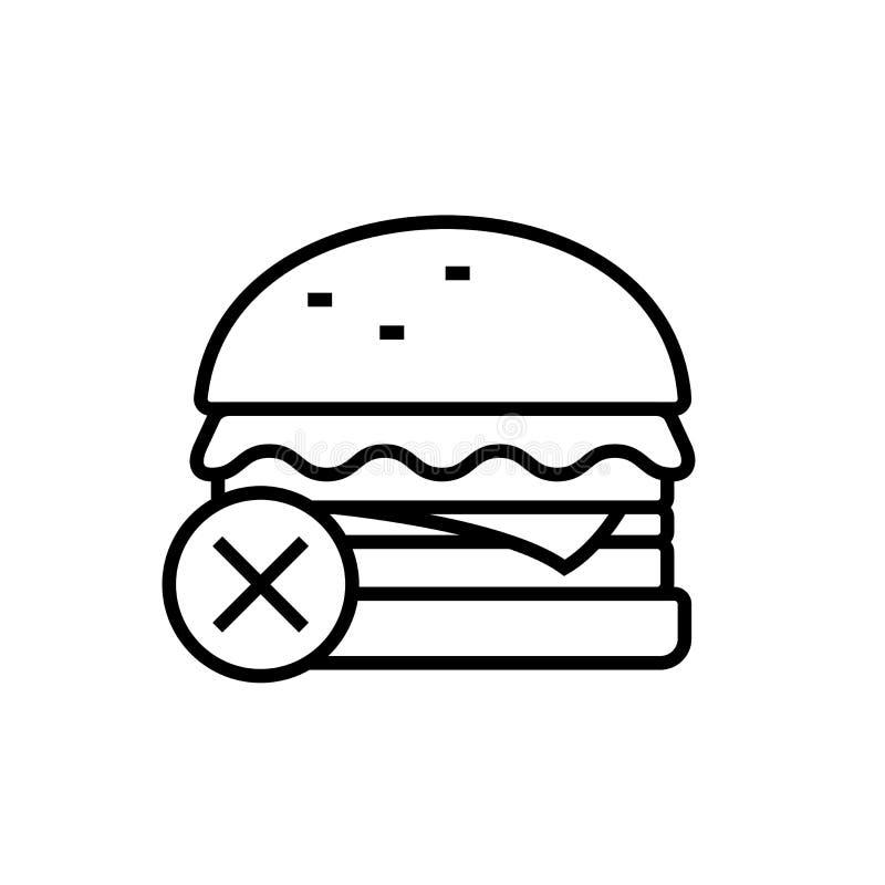 Ingen skräpmatsymbol hamburgaren med det arga symbolet för sunt bantar illustartion enkelt monolinediagram vektor illustrationer