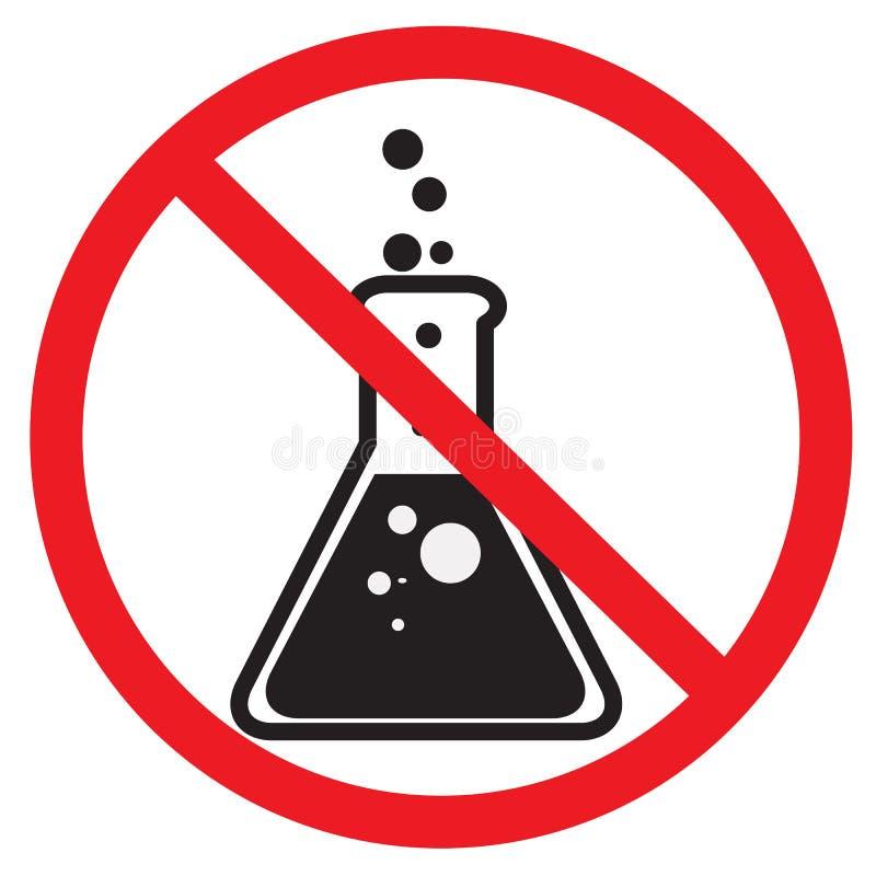 Ingen skyddande symbol på vit bakgrund inget skyddande tecken Plan stil inga kemikalieer experimenterar tecknet för din webbplats royaltyfri illustrationer