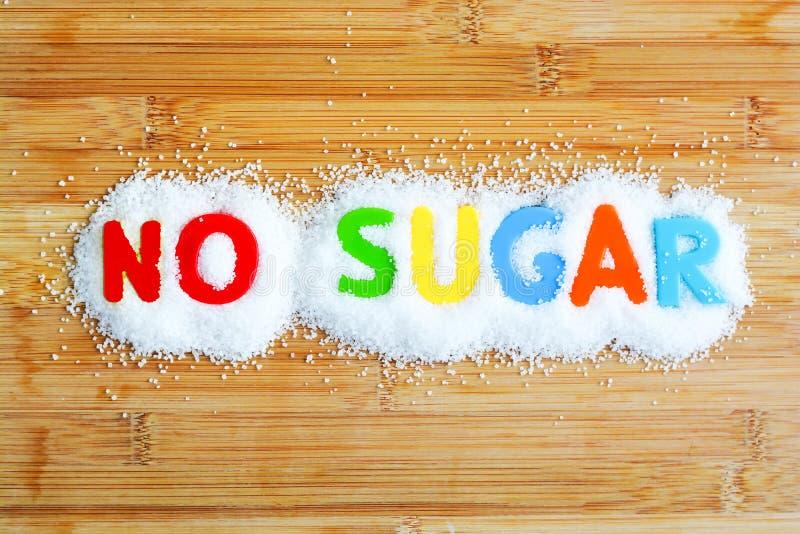 Ingen sockertext från magnetiska bokstäver royaltyfria bilder