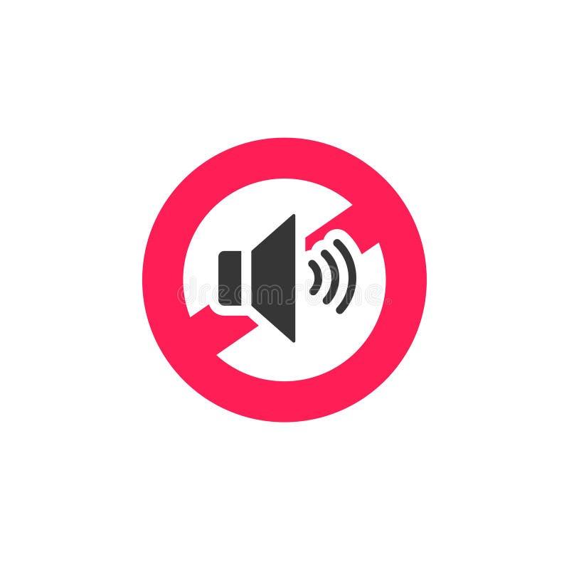 Ingen solid illustration för teckensymbolsvektor, inskränkt symbol för oväsen som isoleras på vit stock illustrationer