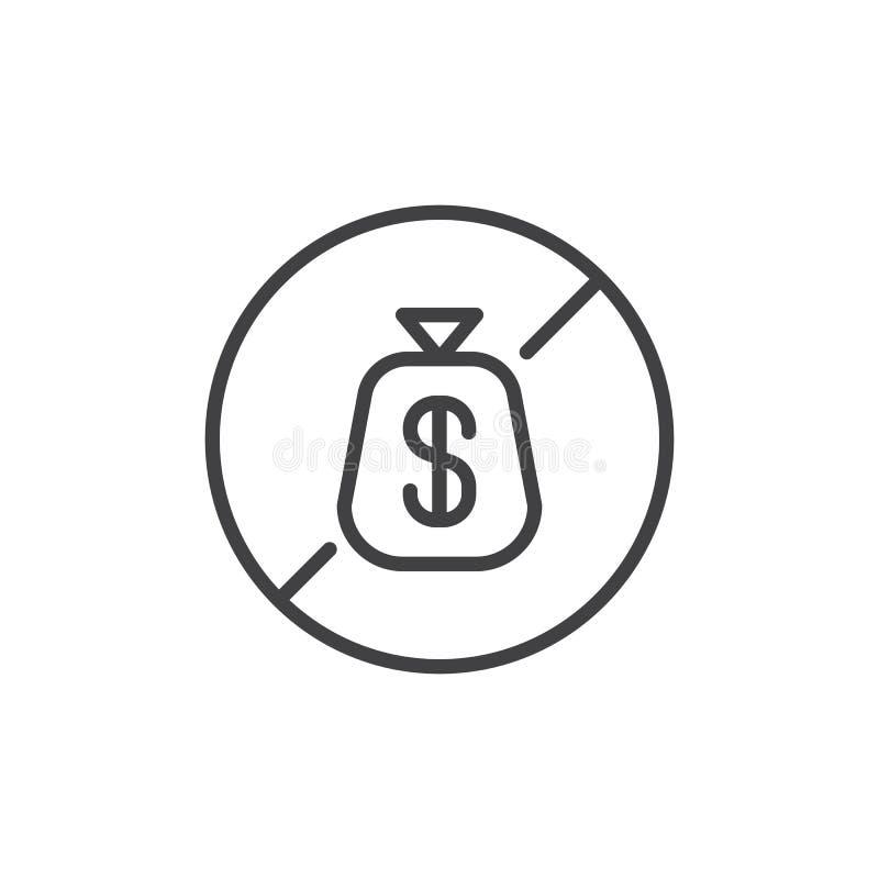 Ingen symbol för översikt för dollarpengarpåse royaltyfri illustrationer
