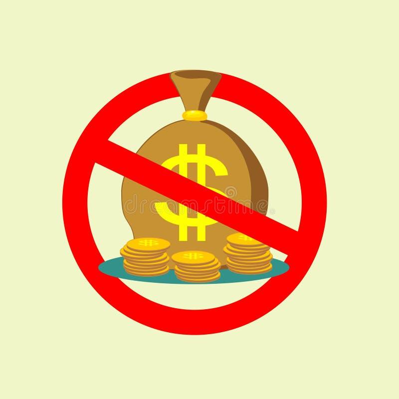 Ingen symbol för pengarpåsetecken stoppa symbolet vektor vektor illustrationer