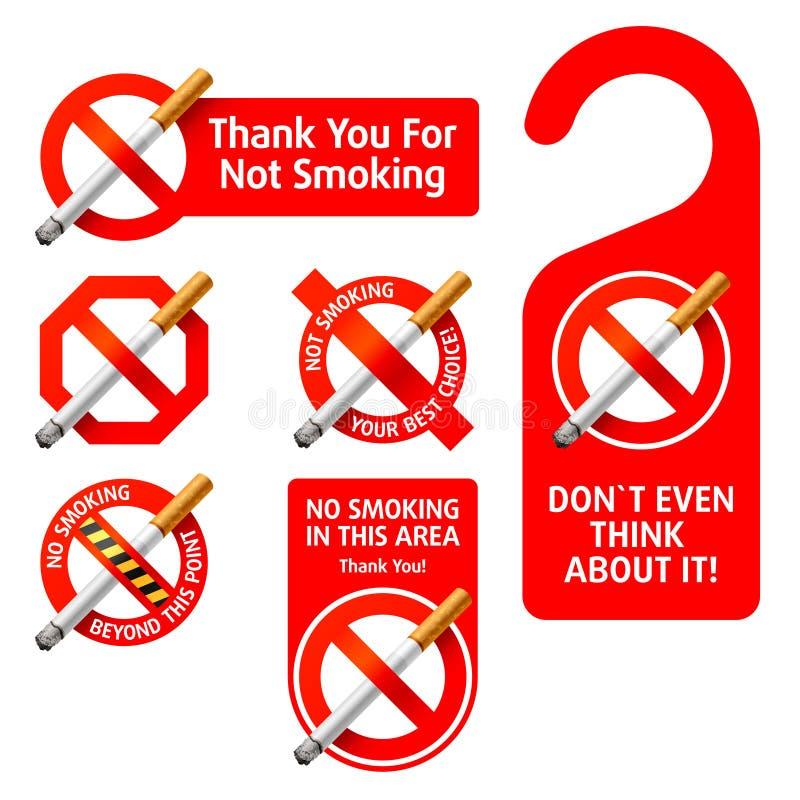 ingen teckenrökning stock illustrationer