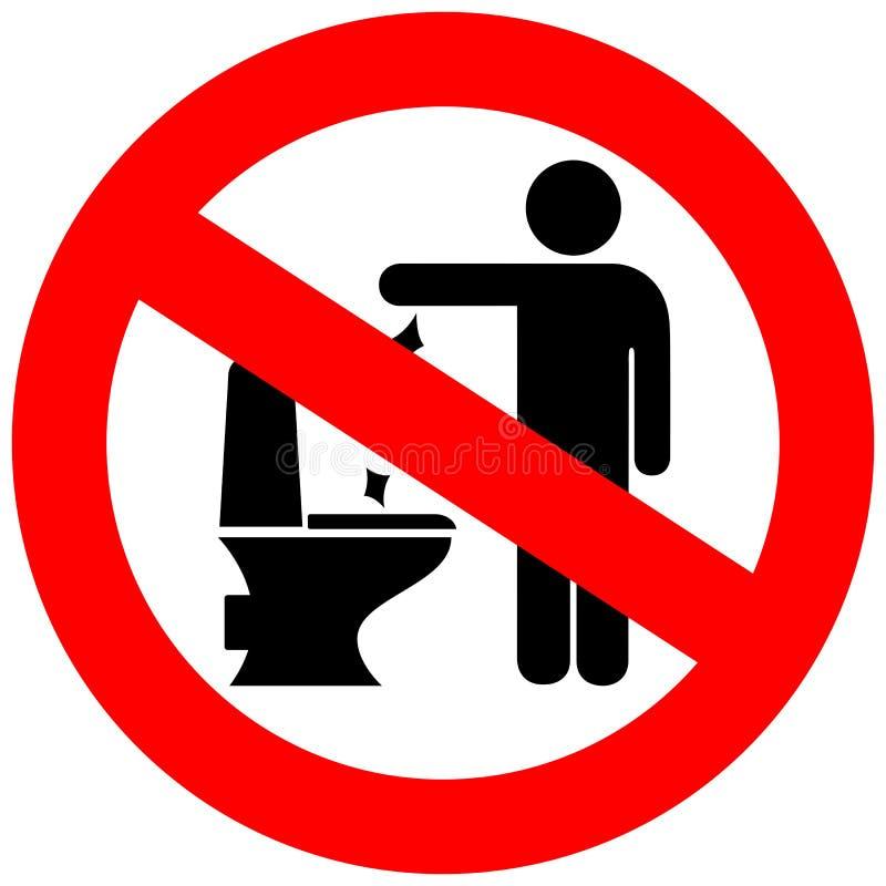 Ingen toalett som skräpar ner vektortecknet royaltyfri illustrationer