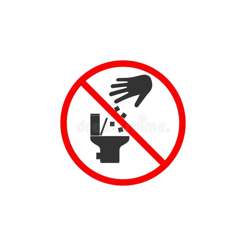 Ingen toalettsymbol som skräpar ner inte i toaletttecken Vektorillustration, l?genhetdesign stock illustrationer