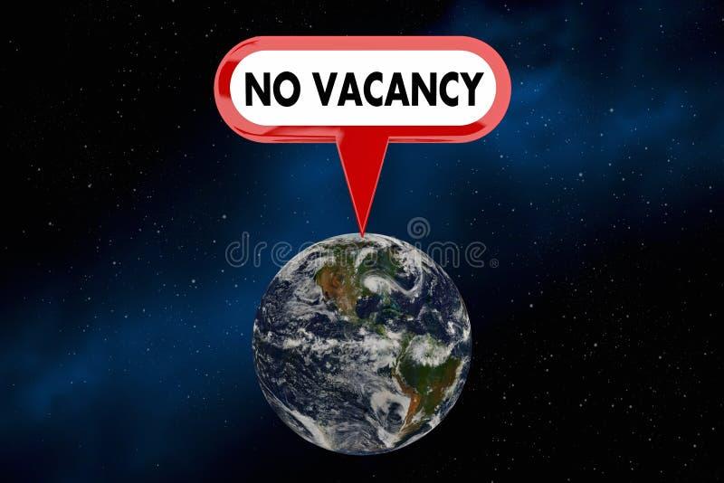 Ingen vakansjordplanet överbefolkade illustrationen för befolkningtecknet 3d royaltyfri illustrationer
